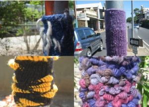 Collage of Yarn bombs